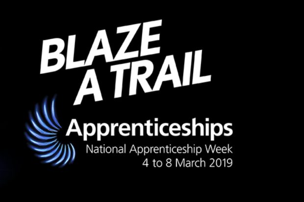 Logo - black background with white writing: Blaze A Trail National Apprenticeship Week 4 to 8 March 2019