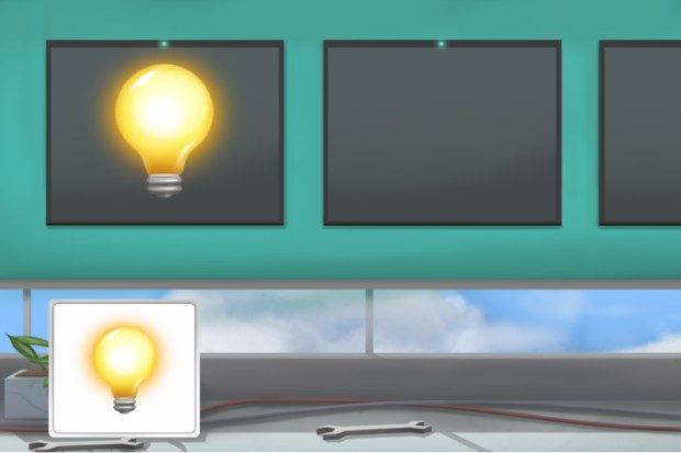 Example screenshot from prison officer online test showing a horizontal banner with three boxes and a lightbulb appearing in one of the boxes. Another smaller lightbulb appears in a box in the bottom left corner