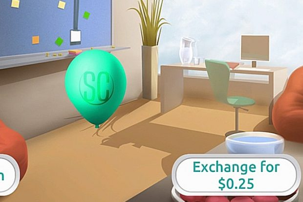 "Example screenshot from prison officer recruitment test showing an illustration of a room with a balloon floating in the middle of it. In the background is a plant, a desk and chair and a blue board on the wall with post-it notes stuck on. A box in the bottom right corner of the image says ""Exchange for $0.25""."